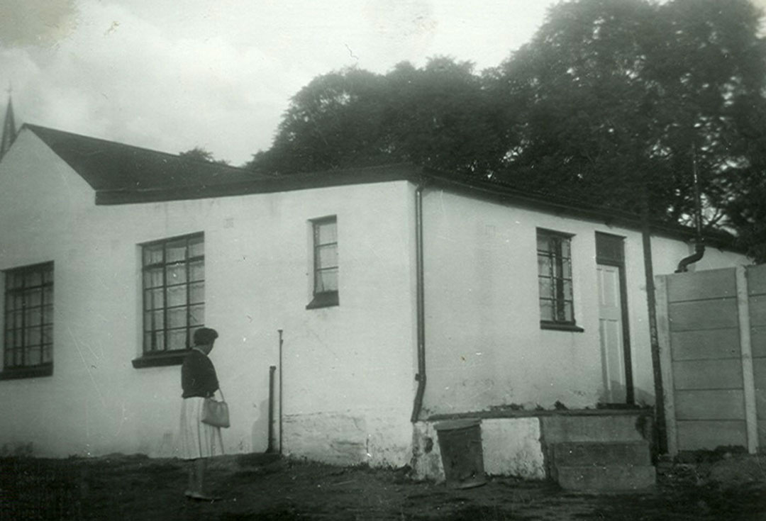 Domitilla inspecting what was to become LITTLE EDEN's first part-time premises at the Methodist Church, Edenvale in 1967