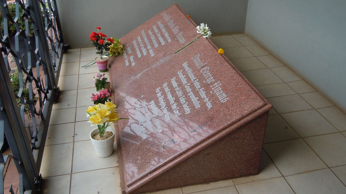 Tombstone-of-Domitilla-and-Danny-Hyams-at-LITTLE-EDEN-Elvira-Rota-Village-'Holy-Family-Chapel'